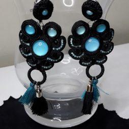 Soutache 142 manualdemano pendientes turquesa y negro