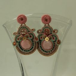 Pendientes de soutache rosa verde 172